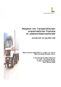 Vergleich von Transportbilanzen unterschiedlicher Produkte im Lebensmitteleinzelhandel