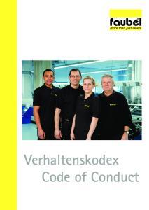 Verhaltenskodex Code of Conduct