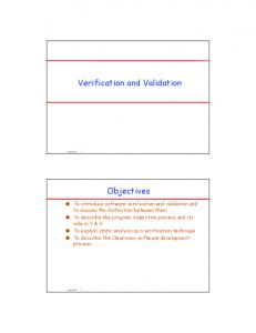 Verification and Validation. Objectives