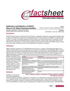 Verification and Validation of HACCP Plans in U.S. Meat Processing Facilities