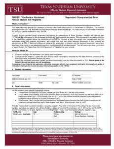 Verification Worksheet Dependent Comprehensive Form Federal Student Aid Programs