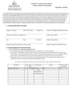 Verification Worksheet Federal Student Aid Programs Dependent Students