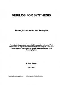 VERILOG FOR SYNTHESIS