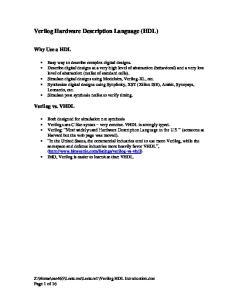 Verilog Hardware Description Language (HDL)