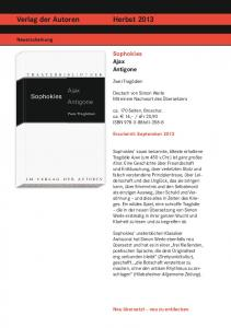 Verlag der Autoren Herbst 2013