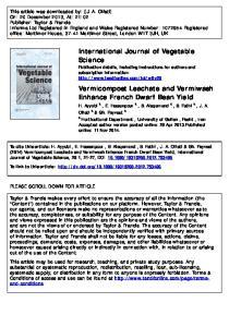 Vermicompost Leachate and Vermiwash Enhance French Dwarf Bean Yield