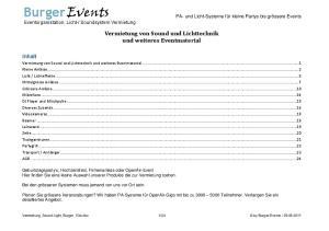 Vermietung von Sound und Lichttechnik und weiteres Eventmaterial