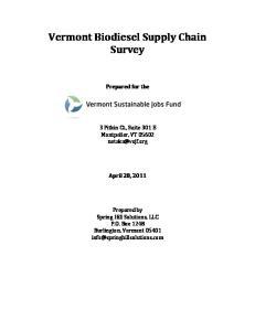 Vermont Biodiesel Supply Chain Survey