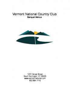 Vermont National Country Club Banquet Menus