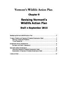 Vermont s Wildlife Action Plan