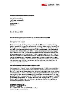 Vernehmlassungsvorlage zur Sanierung der Pensionskasse der SBB