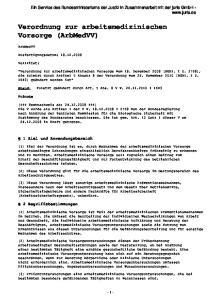 Verordnung zur arbeitsmedizinischen Vorsorge (ArbMedVV)