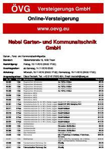Versteigerungs GmbH Online-Versteigerung.  Nebel Garten- und Kommunaltechnik GmbH. Art.-Nr. Menge Bezeichnung Beschreibung Rufpreis