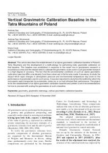 Vertical Gravimetric Calibration Baseline in the Tatra Mountains of Poland