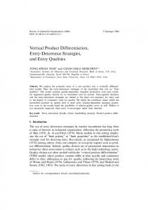 Vertical Product Differentiation, Entry-Deterrence Strategies, and Entry Qualities