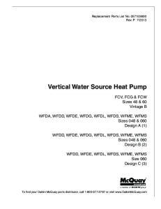 Vertical Water Source Heat Pump