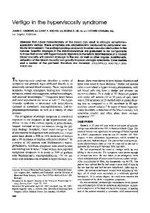 Vertigo in the hyperviscosity syndrome