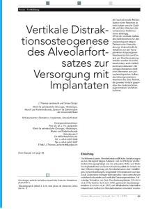 Vertikale Distraktionsosteogenese. des Alveolarfortsatzes. Versorgung mit Implantaten