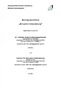 Vertrag betreffend. Virtuelle Entbündelung