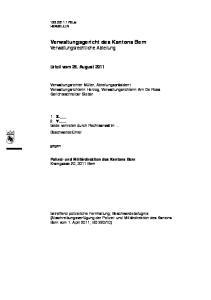 Verwaltungsgericht des Kantons Bern Verwaltungsrechtliche Abteilung