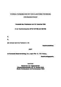 VERWALTUNGSGERICHT DES KANTONS FREIBURG