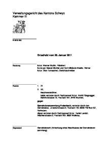 Verwaltungsgericht des Kantons Schwyz Kammer III