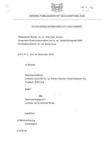 VERWALTUNGSGERICHT DES KANTONS ZUG