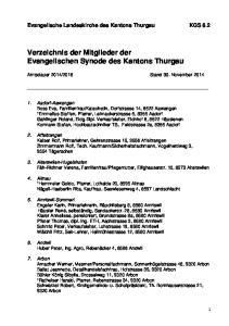 Verzeichnis der Mitglieder der Evangelischen Synode des Kantons Thurgau