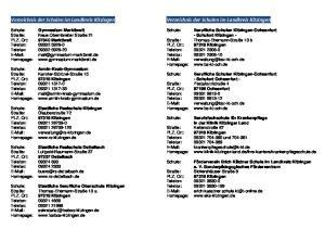 Verzeichnis der Schulen im Landkreis Kitzingen