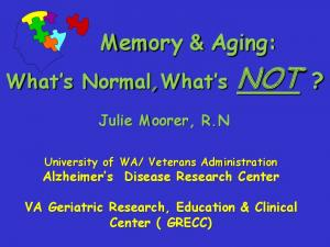 Veterans Administration Alzheimer s Disease Research Center
