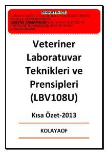 Veteriner Laboratuvar Teknikleri ve Prensipleri (LBV108U)