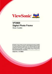 VFD820 Digital Photo Frame User Guide