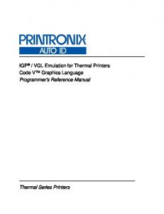 VGL Emulation for Thermal Printers Code V Graphics Language Programmer s Reference Manual