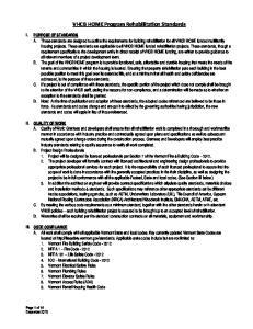 VHCB HOME Program Rehabilitation Standards