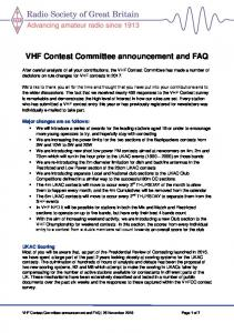 VHF Contest Committee announcement and FAQ