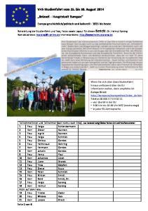 VHS-Studienfahrt vom 25. bis 30. August 2014