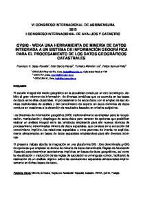 VI CONGRESO INTERNACIONAL DE AGRIMENSURA 2013 I CONGRESO INTERNACIONAL DE AVALUOS Y CATASTRO