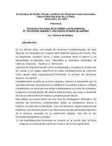 VI Jornadas de Medio Oriente. Instituto de Relaciones Internacionales. Universidad Nacional de La Plata. Noviembre de 2002