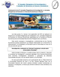 VI Jornadas Patagónicas de Investigación y I Jornadas de Extensión en Ciencias Económicas