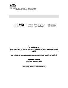 VI SEMINARIO OBSERVATORIO DE ARQUITECTURA LATINOAMERICANA CONTEMPORANEA 2016
