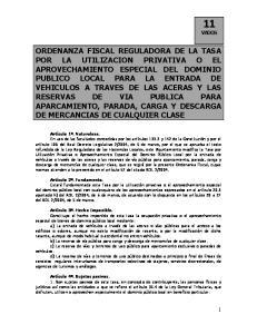 VIA PUBLICA PARA APARCAMIENTO, PARADA, CARGA Y DESCARGA DE MERCANCIAS DE CUALQUIER CLASE