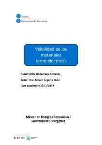 Viabilidad de los materiales termoelectricos
