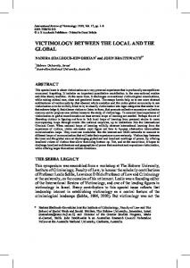 VICTIMOLOGY BETWEEN THE LOCAL AND THE GLOBAL