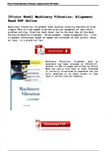 [Victor Wowk] Machinery Vibration: Alignment Read PDF Online