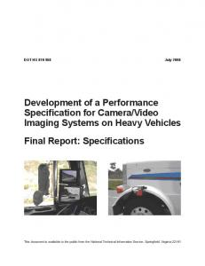 Video Imaging Systems on Heavy Vehicles Final Report: Specifications