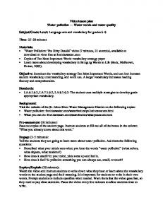 Video lesson plan Water pollution Water words and water quality