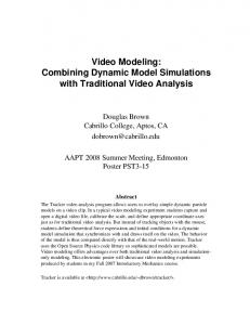 Video Modeling: Combining Dynamic Model Simulations with Traditional Video Analysis