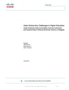 Video Solves Key Challenges in Higher Education