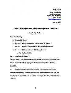 Video Training on the Florida Developmental Disability. Medicaid Waiver