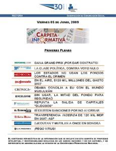 VIERNES 05 DE JUNIO, 2009 PRIMERAS PLANAS